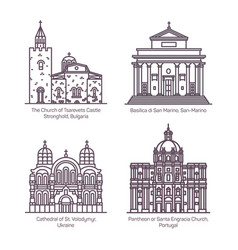set isolated thin line churches and cathedral vector image