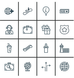 Set of 16 travel icons includes registration vector