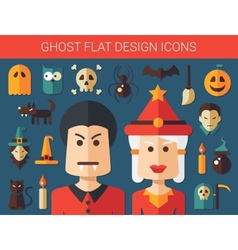 Set of flat design ghost icons vector image