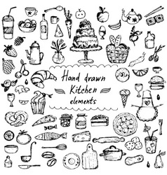 Set of hand drawn design elements for kitchen vector