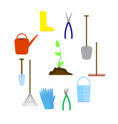 Set of various agricultural tools for garden care vector
