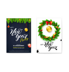 set posters for happy new year holiday events vector image