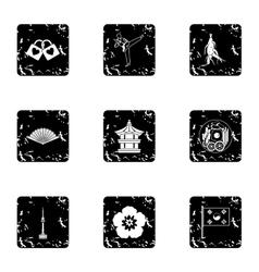 South Korea republic icons set grunge style vector