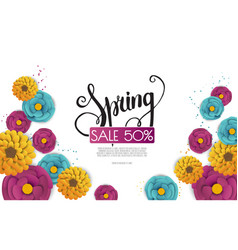 spring sale banner with paper flowers on a white vector image
