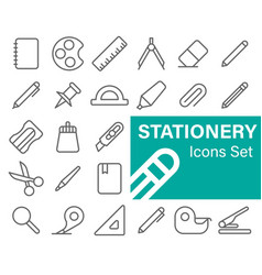 stationery icons set vector image