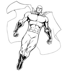 Superhero flying 6 line art vector