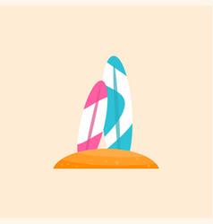 Surfboard flat material design object vector