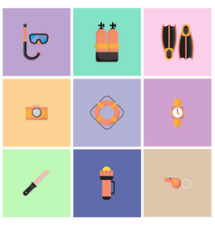 the are dive equipment icons vector image