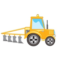 Tractor with plow vector