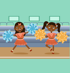 two cute little girls cheer leading at an event vector image
