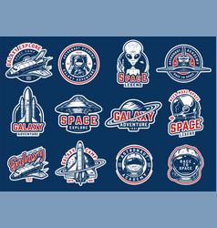 vintage colorful space badges set vector image