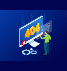 website under construction page isometric error vector image