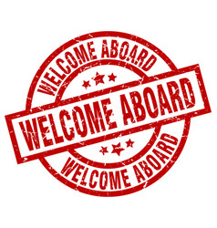 Welcome aboard round red grunge stamp vector