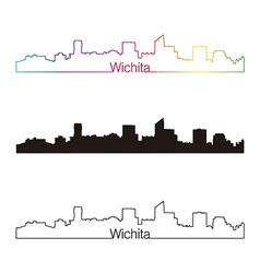 Wichita skyline linear style with rainbow vector