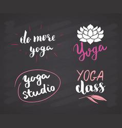 yoga hand drawn labels set calligraphic vector image