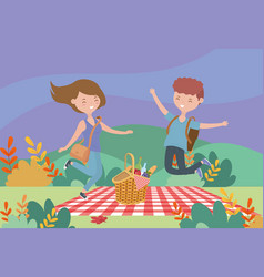 young man and woman basket picnic nature landscape vector image