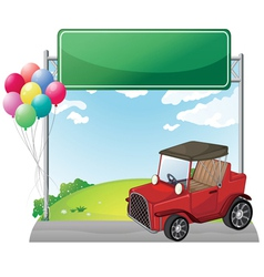 A red jeep near an empty green board vector image vector image