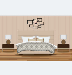 Bedroom elevation room with bed vector
