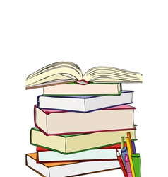 Books and colors vector image vector image