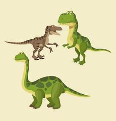 dinosaurs elements cartoon vector image