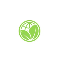 Green leafs and globe eco icon mockup save planet vector image