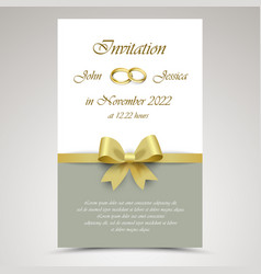 wedding announcement with gold ribbon and rings vector image