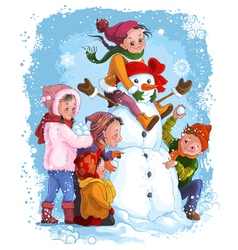 winter games children and snowman vector image