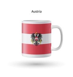 Austria flag souvenir mug on white background vector image vector image