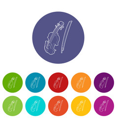 contrabass icons set color vector image vector image