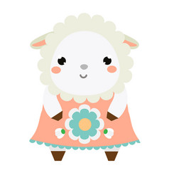 cute sheep dress children style isolated design vector image vector image