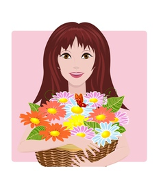 girl bouquet vector image