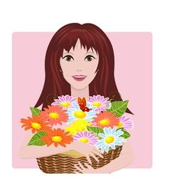 girl bouquet vector image vector image