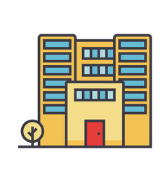 office building flat line concept vector image