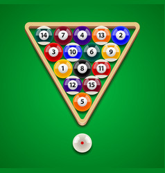 pool billiard balls on green table vector image vector image