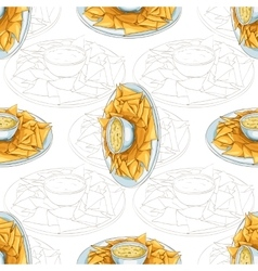 Seamless pattern nachos scetch vector image