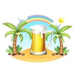 A giant mug of beer near the coconut trees vector image vector image
