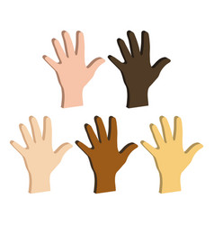 Different color hands ethnicity hands symbol flat vector