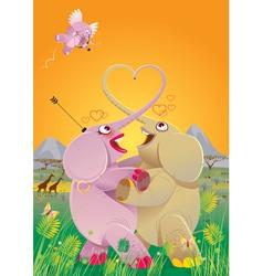 love dance of elephants vector image