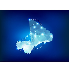 Mali country map polygonal with spot lights places vector image