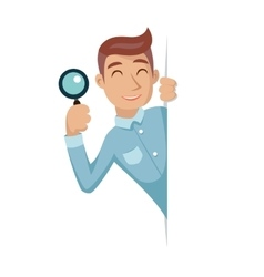 Search help looking out corner cartoon businessman vector