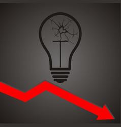 broken light bulb broken idea concept vector image vector image