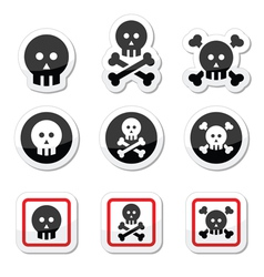 Death skull with bones icons set vector image