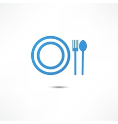 Fork And Spoon And Plate Icon vector image