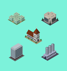 isometric architecture set of company clinic vector image vector image