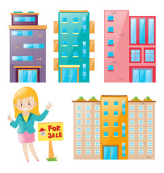 real estate agent and many building set vector image