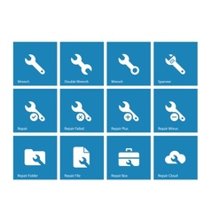 Repair Wrench icons on blue background vector image vector image