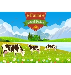 three cows in a landscape and farm vector image