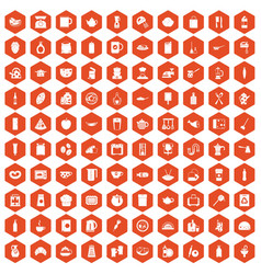 100 kitchen icons hexagon orange vector