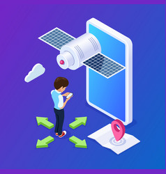 3d isometric mobile navigation concept person vector image
