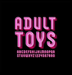 3d pink font volumetric modern alphabet condensed vector